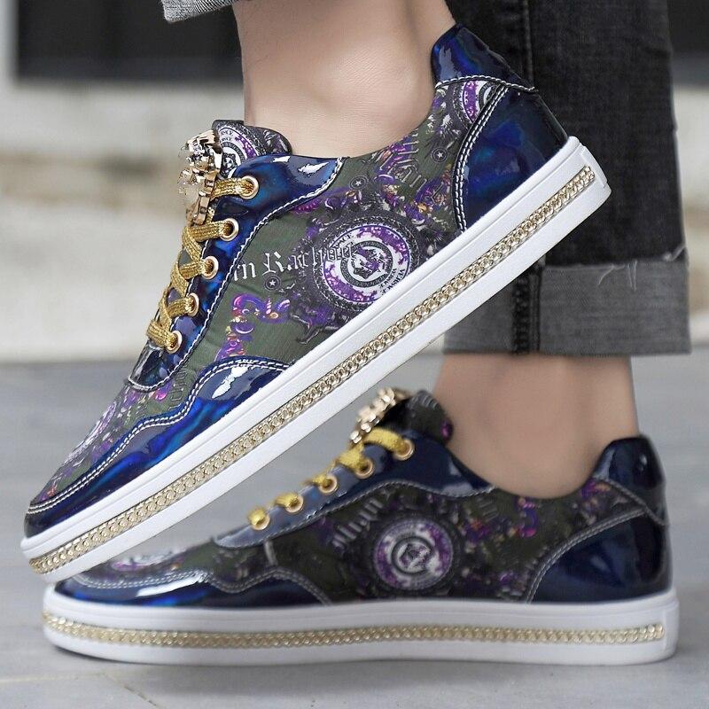 Mode miroirs hommes baskets chaussures de luxe impression décontracté plat baskets formateurs chaussures Hip Hop haute qualité zapatillas hombre | AliExpress