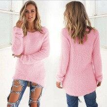 2019 nuevos suéteres de otoño para mujer de manga larga de lana suelta invierno cálido suéter Casual Jersey Tops