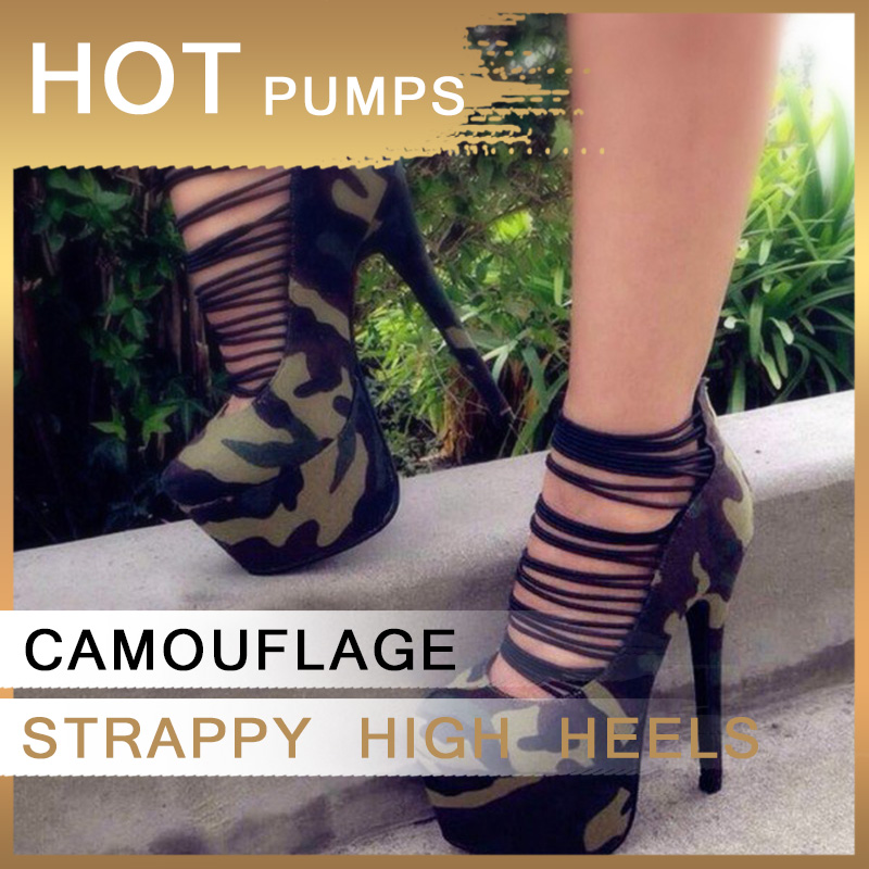 Camouflage Super High Platform Heels Pumps Stiletto Womens Dancer Shoes Strappy Round Toe Luxury New Spring Big Size 44 45 FSJ