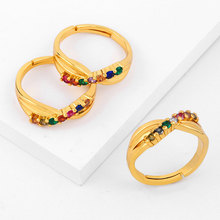 Doreen Box New Simple Ring Fashion Color Rhinestone Open Golden Gifts For Women Jewelry ,1Piece