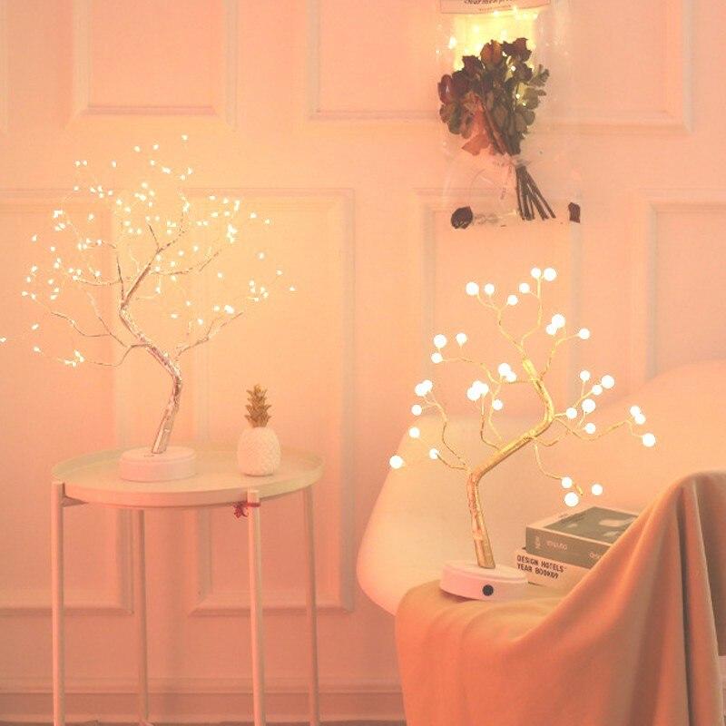 108 LED USB 3D 테이블 램프 구리 와이어 크리스마스 화재 트리 밤 빛 홈 휴일 침실 실내 키즈 바 장식 요정 빛