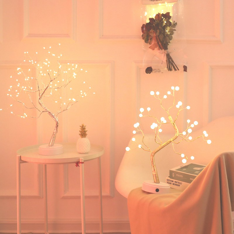 108 LED USB 3D lampa stołowa drut miedziany Christmas Fire Tree lampka nocna do domu Holiday sypialnia kryty dzieci dekoracja baru bajkowe oświetlenie