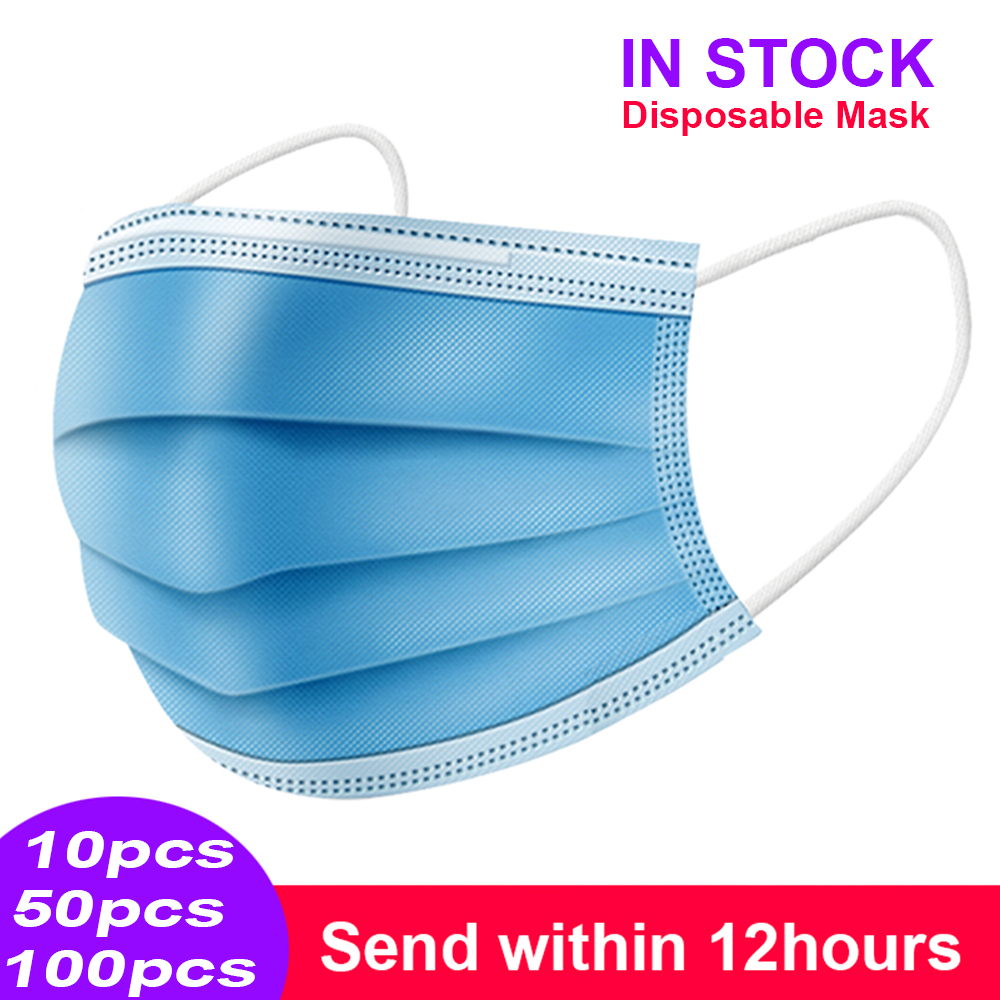Mask Disposable Nonwoven 3 Layer Ply Filter Mask mouth Face mask filter safe Breathable dustproof Protective masks