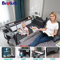 Brotish  Newborn multifunctional crib stitching bed  newborn cradle bed  game bed  portable folding crib easy to travel