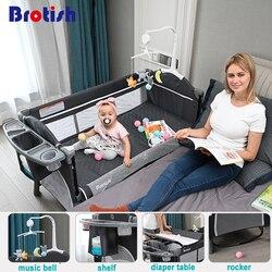 Cama de punto multifuncional para cuna de recién nacido, cuna de recién nacido, cama de juego, cuna plegable portátil fácil de viajar