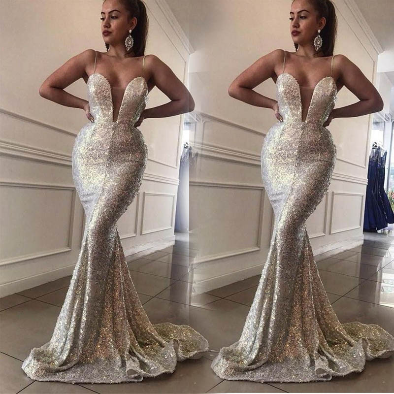 Sexy Spaghetti Evening Dress Sequins V Neck Robe De Soiree Longue 2019 Silver Evening Gowns Mermaid Formal Dresses Abiye