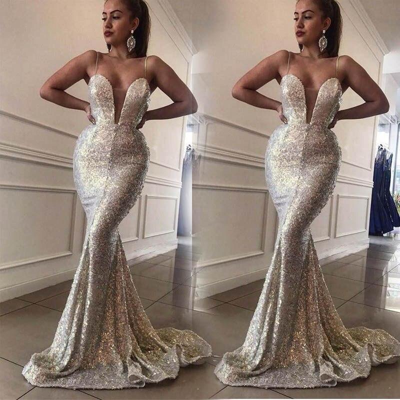 Sexy Spaghetti   Evening     Dress   Sequins V Neck robe de soiree longue 2019 Silver   Evening   Gowns Mermaid Formal   Dresses   abiye