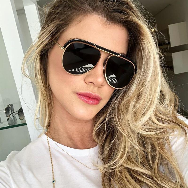 2019 Luxury Shades Sunglasses Women Oversized Pilot Retro Mirror Ladies Sunglasses Fashion Brand New Vintage Eyewear UV400