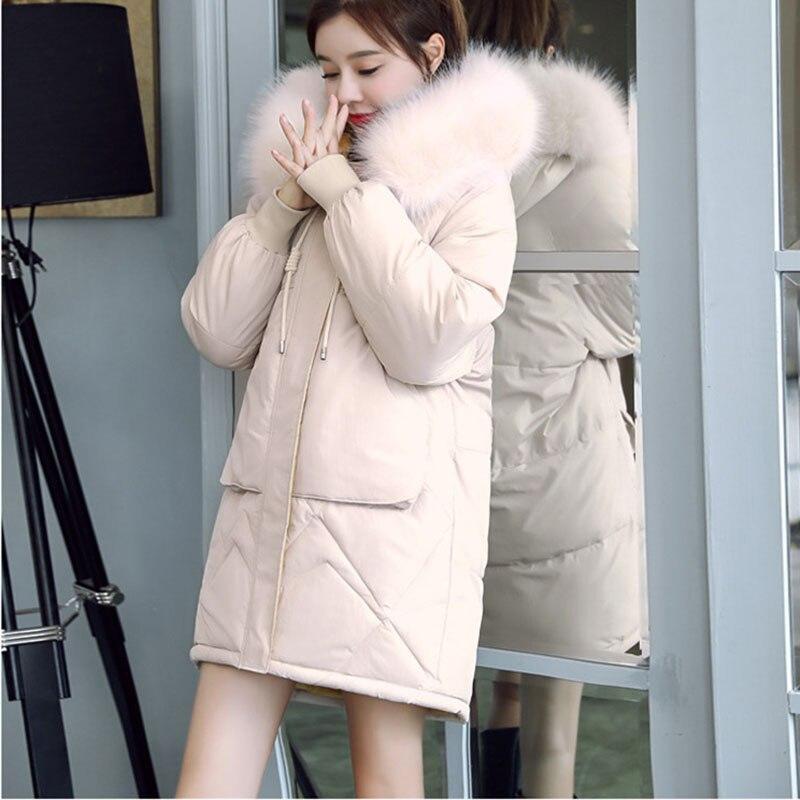 2019 New Autumn winter Medium length Hooded Women parka Solid zipper Long sleeve Thick Outwear Coat Jacket Fashion Cotton 2