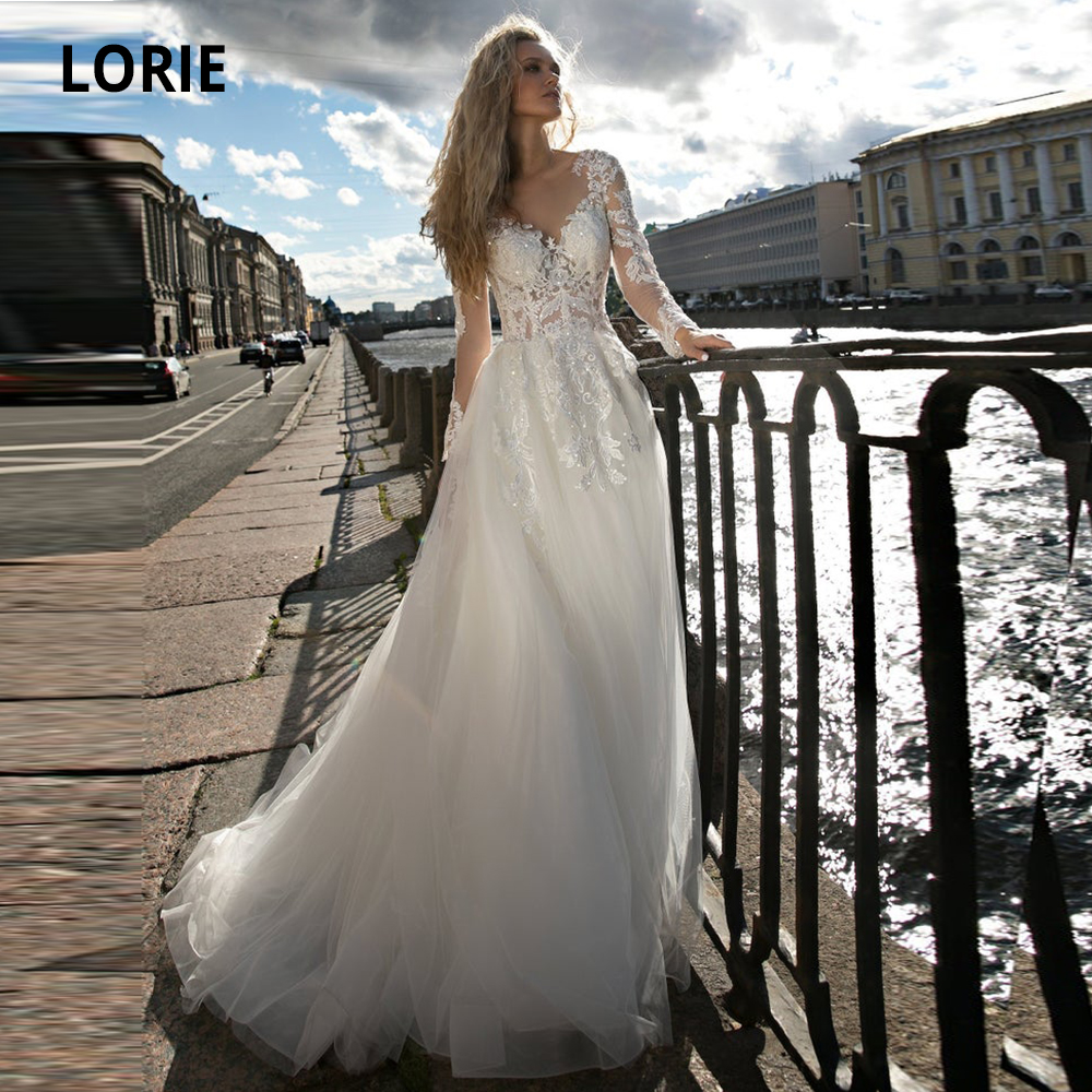 LORIE A-line Wedding Dresses Boho 2019 Long Sleeve Lacing White Bridal Gowns Tulle Appliqued Beach Wedding Gowns Party Dress