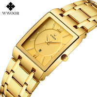 WWOOR Luxus Herren Uhren Gold Platz Quarzuhr Männer Top Marke Datum Uhr Wasserdicht Goldene Armband Business Männliche Armbanduhr-in Quarz-Uhren aus Uhren bei
