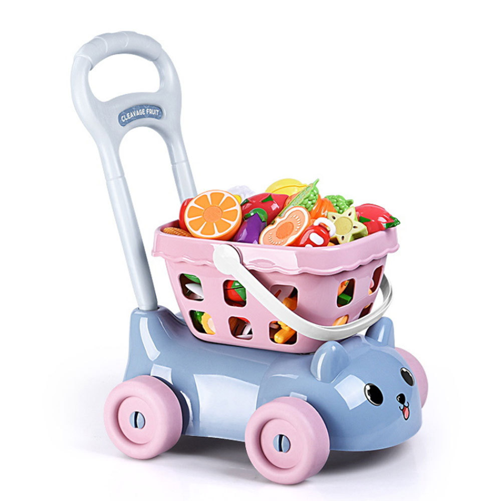 Simulation Kids Supermarket Shopping Groceries Cart Trolley Toys For Girls Kitchen Play House Simulation Fruits Pretend Baby Toy