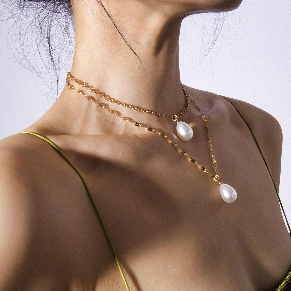 2019 ZA New Fashion Gold Color Multilayer Chains Pearl Necklaces Geometric Crystal Pendants Necklaces For Women Bijoux
