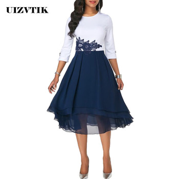 Embroidery Lace Autumn Summer Dress Women 2020 Casual Plus Size Slim Patchwork Chiffon Dresses Elegant Sexy Long Party Dress 2019 plus size party dresses women summer long maxi dress casual slim elegant dress bodycon female beach dresses for women 3xl