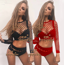 HOT Sexy Fishnet Babydoll Cosplay Nachthemd häkeln plus größe dessous kleid body Korsetts produkte Nachtwäsche + Hot pants W133(China)