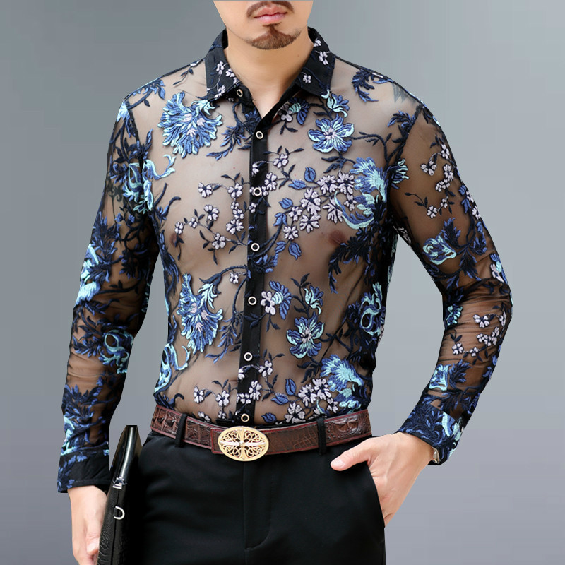 Embroidery Lace Club Party <font><b>Shirt</b></font> Luxury Transparent <font><b>Shirt</b></font> <font><b>Men</b></font> <font><b>Long</b></font> Sleeve Chemise Hommesexy See Through <font><b>Mesh</b></font> <font><b>Shirt</b></font> <font><b>Men</b></font> 4xl image