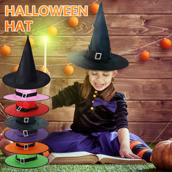 Halloween Funny Hat Prom Party Decoration Strappy Hat Witch Hat Halloween Witch Hat With Led Light Glowing Witches Hat Hanging image