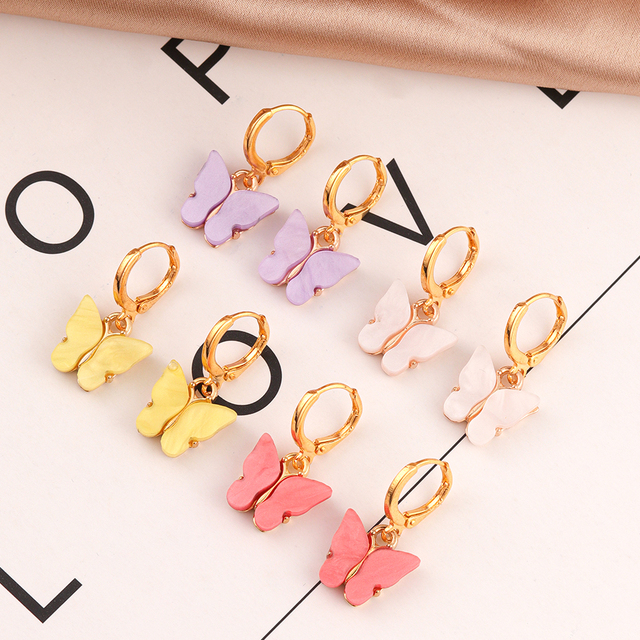 2020 New Bohemian Acrylic Candy Color Butterfly Pendant Necklace Statement Necklace For Women Necklace Jewelry Gifts Wholesale