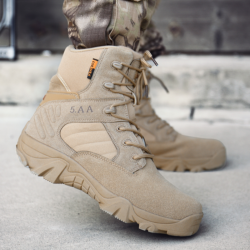 Army Male Commando Combat Desert Winter Outdoor Hiking Boots Landing Tactical Military Shoes (Size 39 - 46)