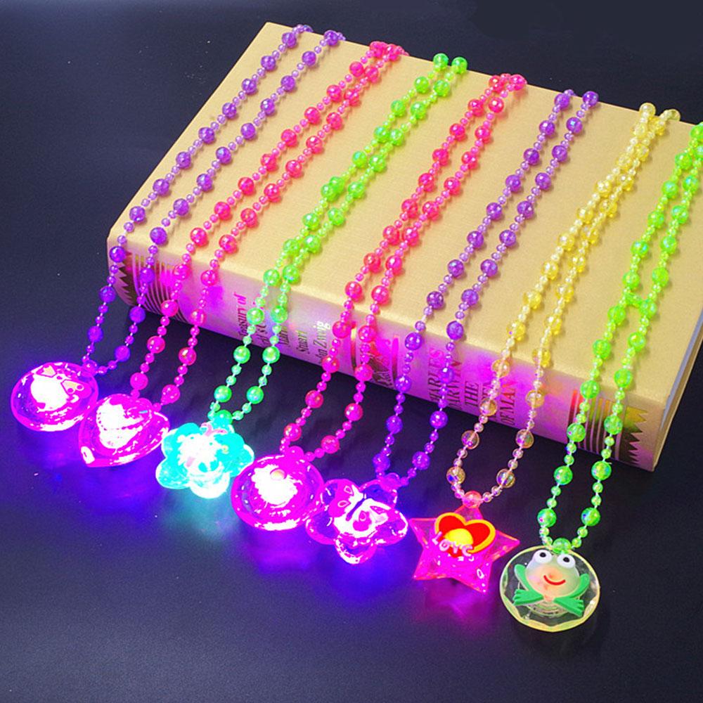 СВЕТОДИОДНЫЕ светящиеся Детские игрушки, подвеска, цветной шнурок, ожерелье с подсветкой, Мультяшные креативные подарки для детей, красочн...