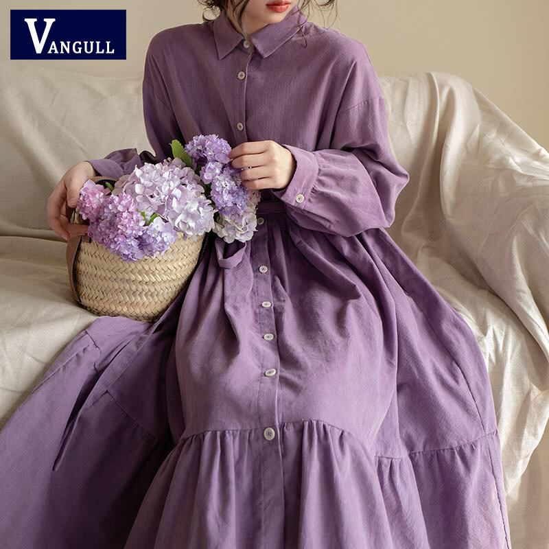 Vangull 2019 New Women Corduroy Purple Ruffles Midi Dress Long Sleeve Sashes Lady Stylish Mid Calf Dresses Chic Vestidos Elegant