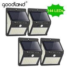 Goodland – Lampe solaire LED pour décoration d'extérieur, lumineuse pour jardin et rue avec capteur de mouvement, puissante et étanche, lampadaire PIR, 144 à 100 Leds