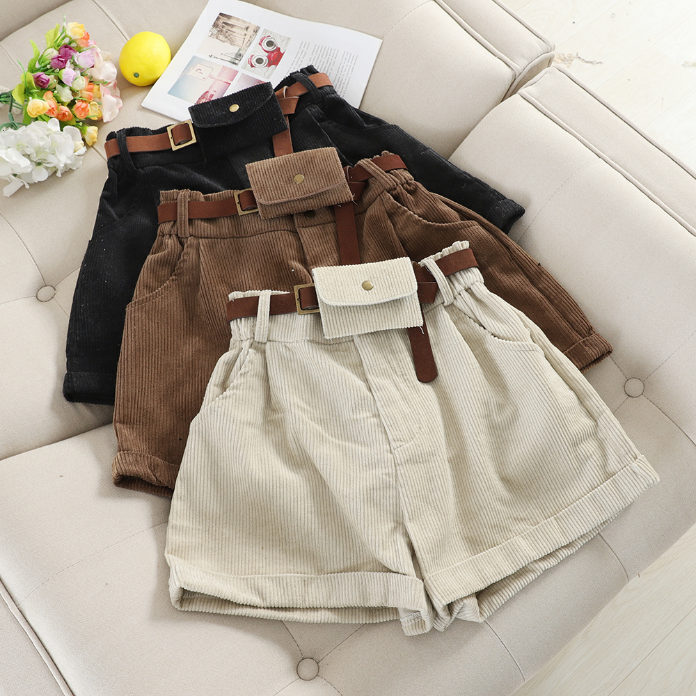 Vintage Corduroy Wide Leg Short Women Autumn Winter High Waist With Sashe Bags Shorts Female Casual Khaki Black Bottoms
