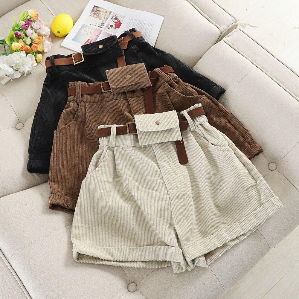 Vintage Corduroy Wide Leg Short Women Autumn Winter High Waist With Sashe Bags Shorts Female Casual Khaki Black Bottoms