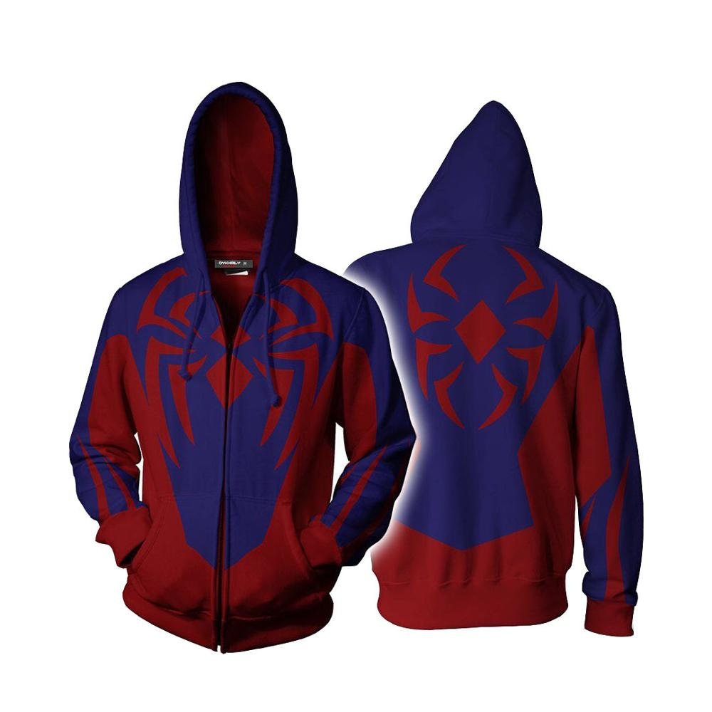 Spider-Man Into the Spider Verse Miles Morales Cosplay Costume Jacket Spiderman Zipper Hooded Hoodies 3D Sweatshirts Coat image