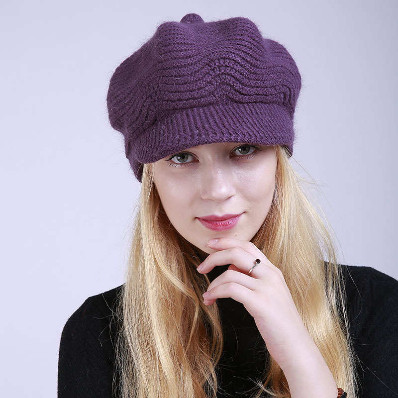 Gorro de terciopelo liso de invierno para mujer, gorro de lana Merino a la moda para 100%, gorro, sombreros de invierno boina con visera, gorros tejidos para el frío