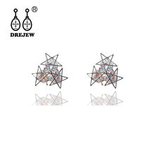 DREJEW Gold Rose Circle Star Pearl Statement Earrings Sets 2019 925 Crystal Alloy Stud for Women Wedding Jewelry HE719