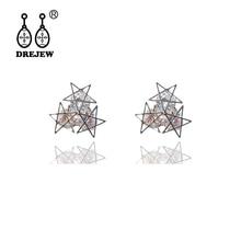 DREJEW Gold Rose Circle Star Pearl Statement Earrings Sets 2019 925 Crystal Alloy Stud Earrings for Women Wedding Jewelry HE719 цена и фото