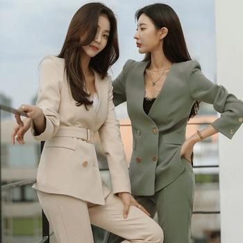 Spring And Autumn Women's Office Suit V-Neck Green Two-Piece Sets Female Blazer Girly Elegant Temperament Pantsuit Setup Ladies 1