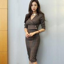 HAMALIEL, сексуальные летние женский комплект 2 шт. с v-образным вырезом, с коротким рукавом, в клеточку, короткие топы+ модные офисные, OL, облегающая юбка-карандаш с разрезом