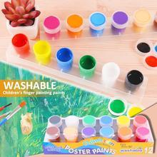 Children Finger Painting Paints Vibrant Colors Washable Gouache Paint Doodle Set for Kids 12 Colors tanie tanio MINOCOOL 5-7 lat 8 ~ 13 Lat 14 Lat i up Zawodów Paint set