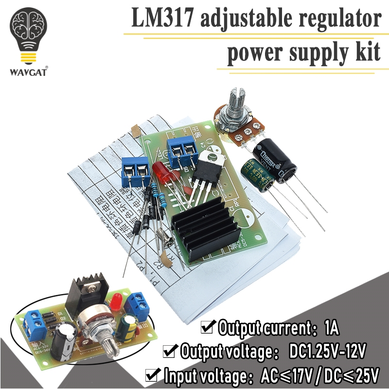 LM317 Adjustable Power Supply Kit DIY Teaching Training Parts Continuous Adjustable DC Power Supply