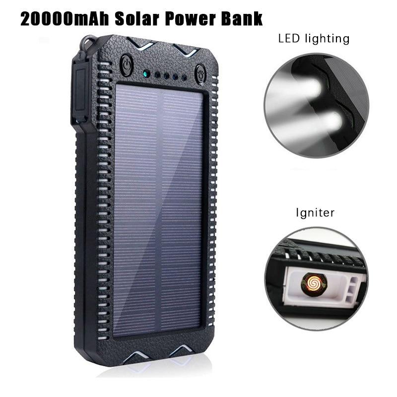 Cep telefonları ve Telekomünikasyon Ürünleri'ten Taşınabil. Güç Kay.'de Güneş enerjisi bankası 20000mAh su geçirmez Cargador Portatil çift USB güç bankası çift LED el feneri çakmak lityum pil ile