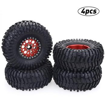 4pcs 128mm 2.2inch Rubber Tire With Alloy Beadlock Wheel Rim For AXIAL SCX10 90046 RC4WD D90 1/10 RC Rock Crawler Car