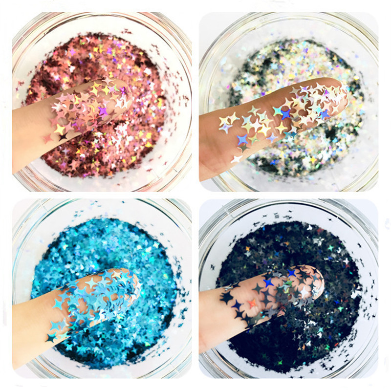 10g Laser Stripe Four-pointed Star Cross Flash UV Resin Decoration Jewelry Stuffed Paillettes