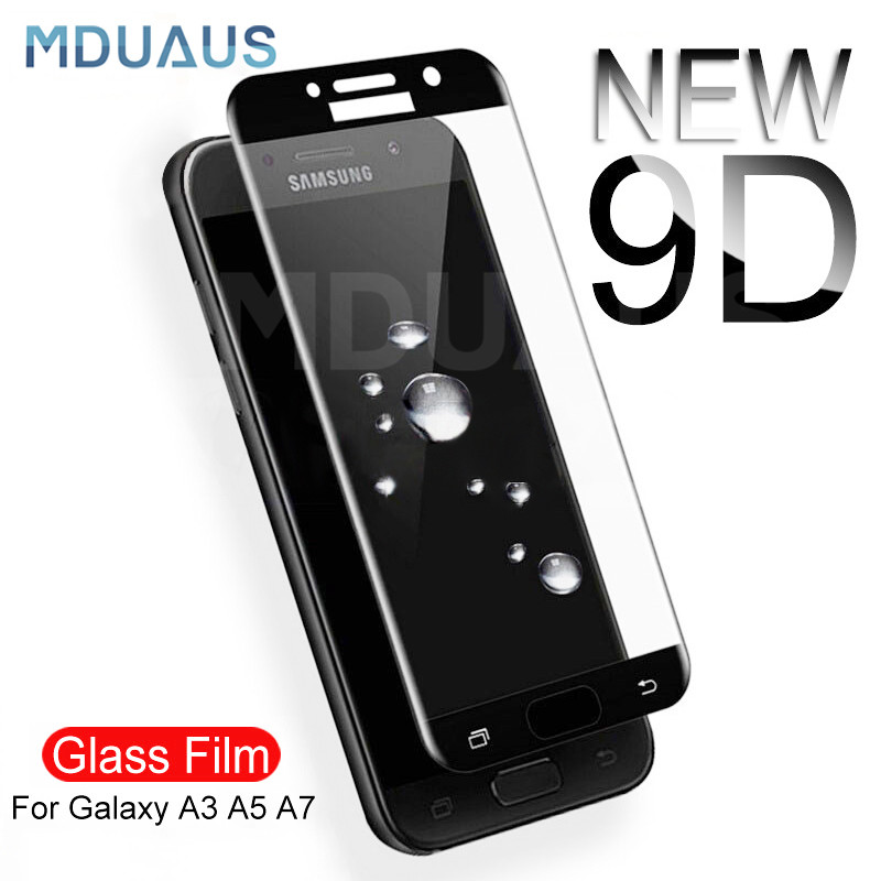 9D Protective Glass on the For <font><b>Samsung</b></font> Galaxy A3 A5 A7 <font><b>Samsung</b></font> J3 J5 J7 2016 2017 <font><b>S7</b></font> Tempered <font><b>Screen</b></font> <font><b>Protector</b></font> Glass <font><b>Film</b></font> Case image