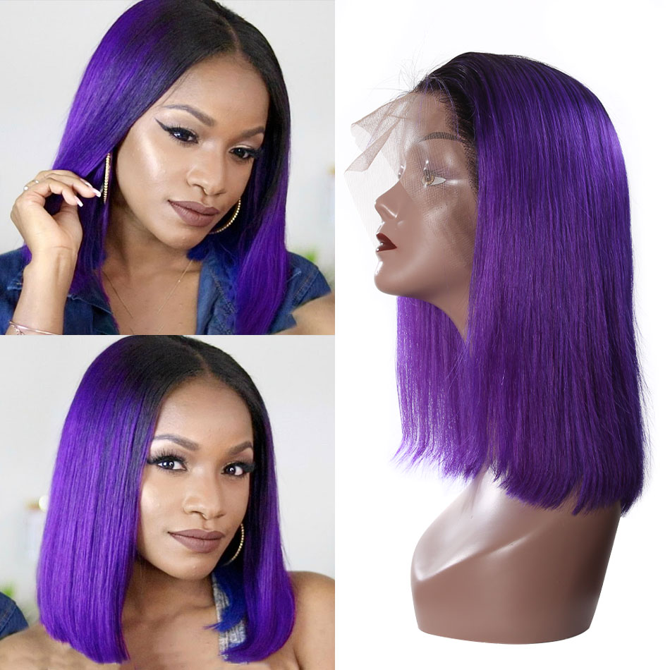 13x6 Short Lace Front Human Hair Wigs 1B/Purple Ombre Straight Lace Front Wig Bob Remy Brazilian Lace Frontal Wig For Women