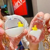 Kreative Cartoon Kleine Gelbe Ente Schlüssel Ketten Schwimm Flüssigkeit Quicksand Driften Flasche Schlüsselanhänger für Frauen Tasche Schul Schmuck