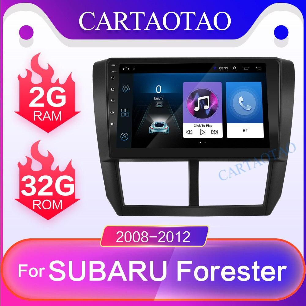 Cartaotao 9 din 2 din para subaru forester 2.5d hd 2008-2012 rádio do carro multimídia player de vídeo navegação gps android 8.1 go 2 din