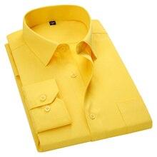 Мужская приталенная рубашка с длинным рукавом, Повседневная рубашка, белая, синяя, красная, желтая, мужская рубашка, большие размеры 5XL 6XL 7XL 8XL