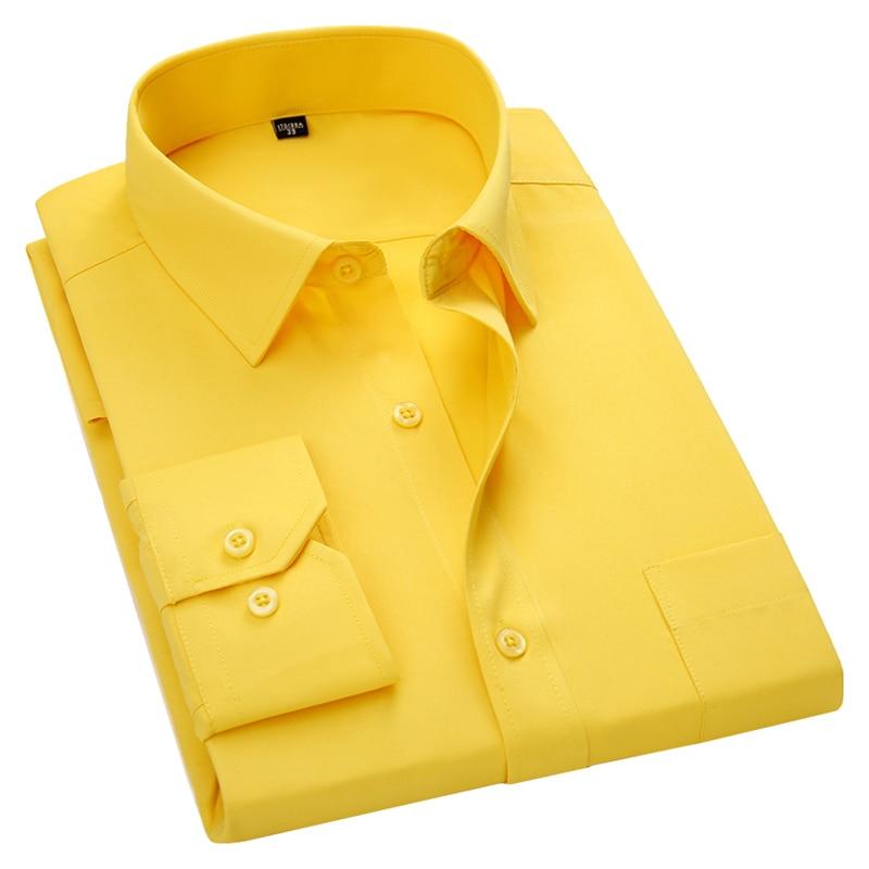 Men's Long Sleeve Slim Fit Dress Casual Shirt White Blue Red Yellow Male Social Shirt Plus Size 5XL 6XL 7XL 8XL(China)