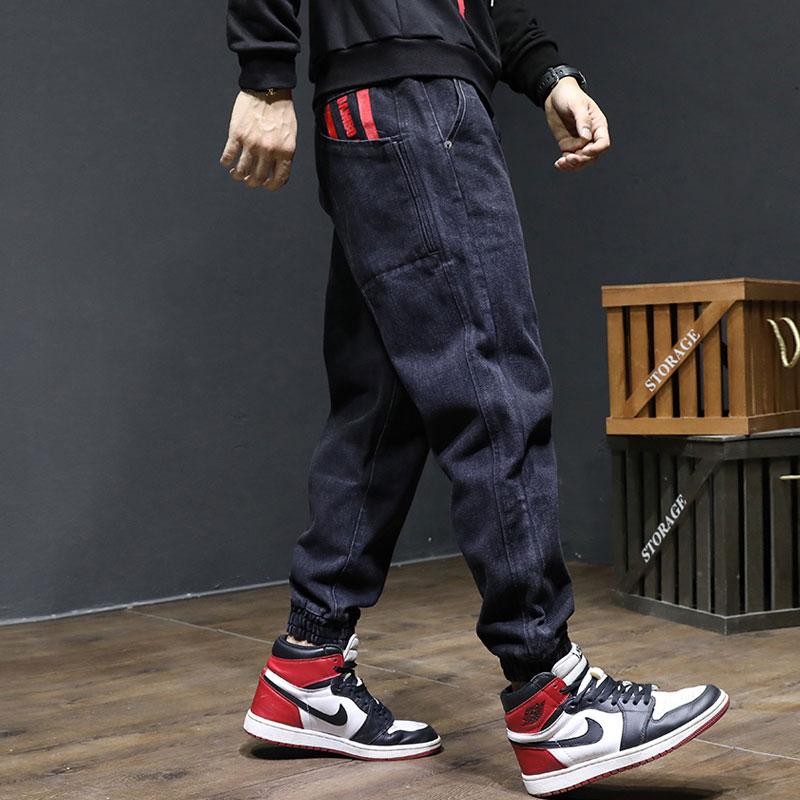 Japanese Style Fashion Men Jeans Loose Fit Spliced Harem Jeans Men Cargo Pants Printed Designer Hip Hop Jeans Men Joggers Pants
