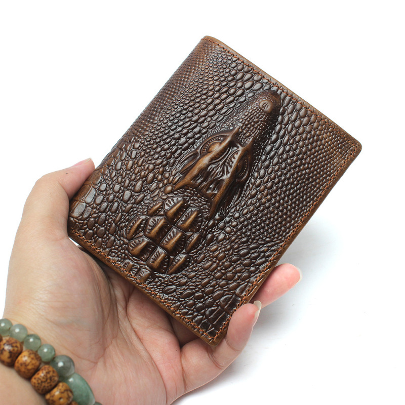 New Luxury Cattle Male Quality Leather Fashion Design Crocodile Emboss Simple Standard Brand Wallet Handy Purse Men