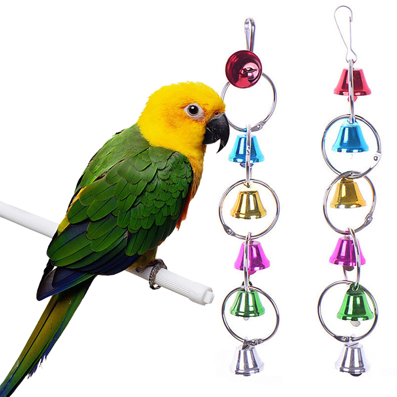 Parrot Hanging Bell Collar Toy Bird Toys Parrot Metal Bell Toy Colorful Parrot Cage Bell Swing For Home PetsBird Supplies