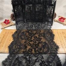 Rr3524 preto elástico cílios laço acessórios de vestuário diy decoração 25cm laço largo