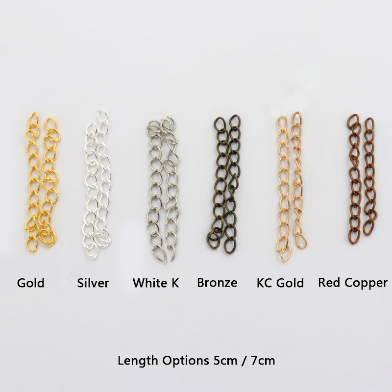 100pcs 5 7cm KC Gold Silver Color Diy Metal End Tail Extension Chain For Jewelry Making Necklace Bracelet Handmade Accessories
